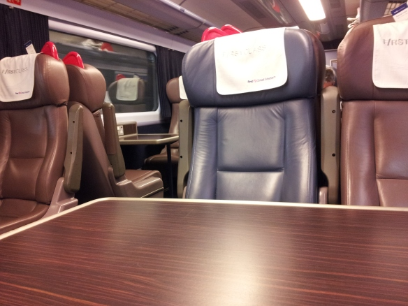 First class on First Great Western train to Cardiff 9-27-14
