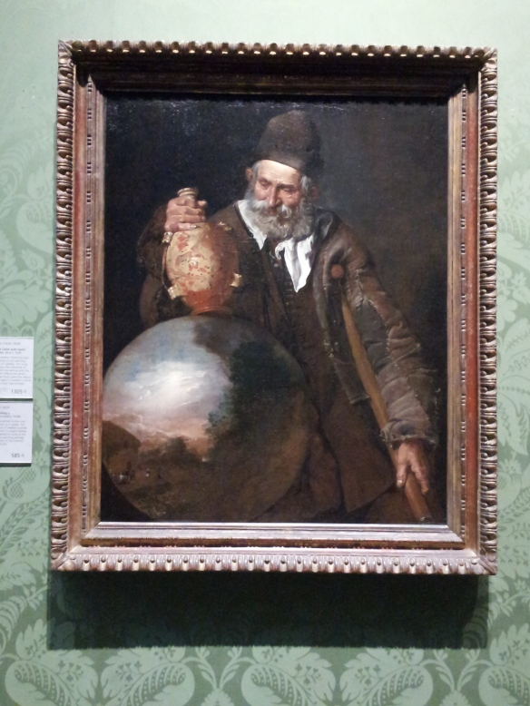 An Old Man Holding a Pilgrim-Bottle - Unknown Italian artist.  They don't know who painted this, but they think it was created sometime in the 1650s.