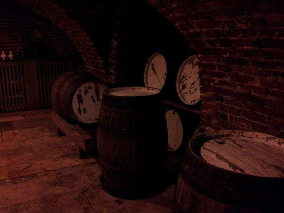 Some beer barrels in the beer cellar (I'm sure these were fake, just for effect.)