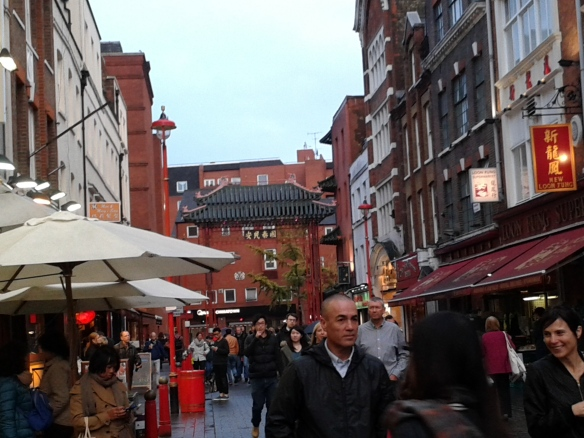 A view down the Chinatown street.