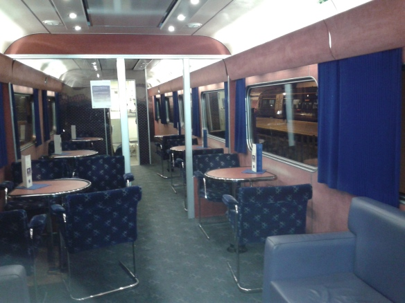 The First Class Lounge on the sleeper.  Only train in Britain with real leather sofas.