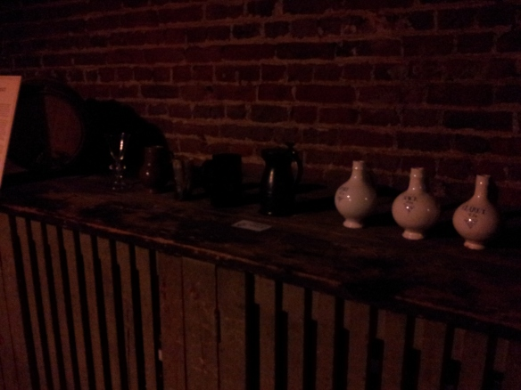 Some flasks in the beer cellar.