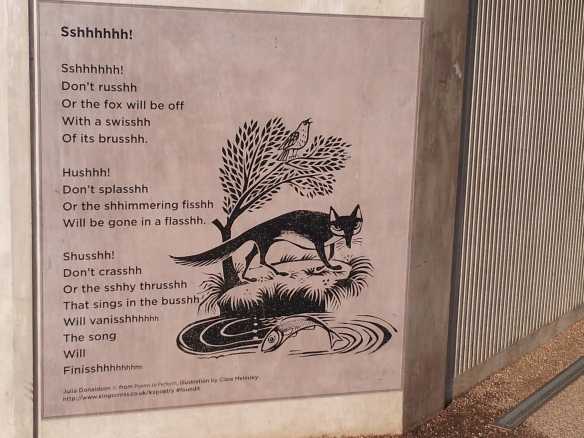 An illustrated poem on the wall near where the barge is moored. I liked this.