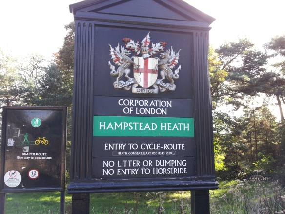 Behold--the entrance plaque to Hampstead Heath on Spaniard Road.