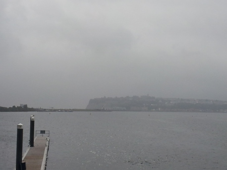 Cardiff Bay with a view of the headland, where Penarth is located.