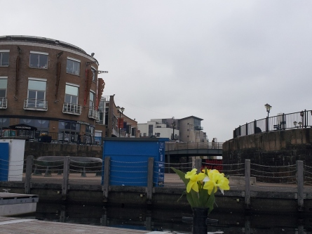 Looking back at Mermaid Quay from the Daffodil- the shuttle boat to Penarth, Cardiff Bay