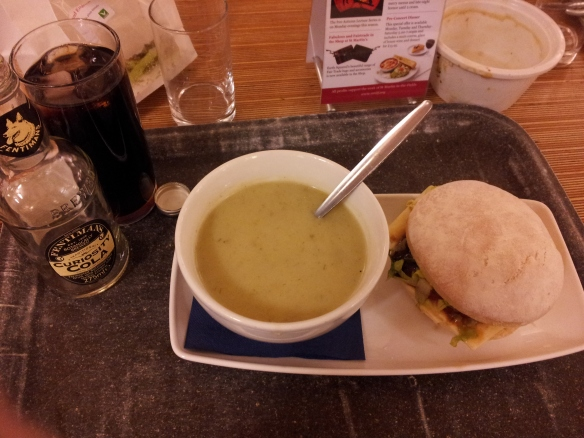 My lunch--a cheddar and English pickle sandwich, leek and potato soup, and a Fentiman's Curiosity Cola.  It was pretty good, actually.