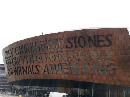 Wales Millennium Centre--they were on top replacing some of the copper roof tiles.