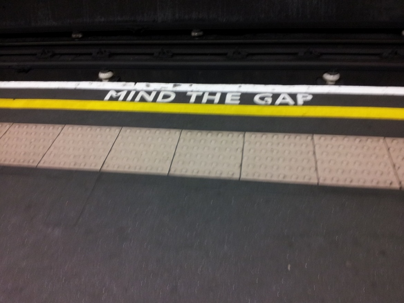 You still have to do this. (Photo taken at Belsize Park Station in Hampstead)