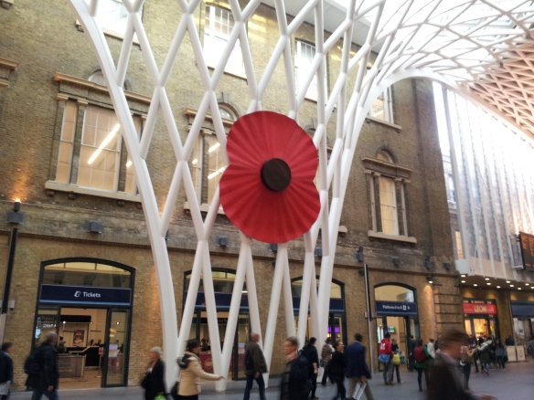 And on the way home--a commemorative poppy in King's Cross Station.  Everyone is marking the WWI centenary in their own ways.
