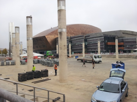 Roald Dahl Plaas-they were taking down  event stuff, Cardiff Bay