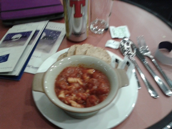 Tomato pasta dinner, Caledonian Sleeper