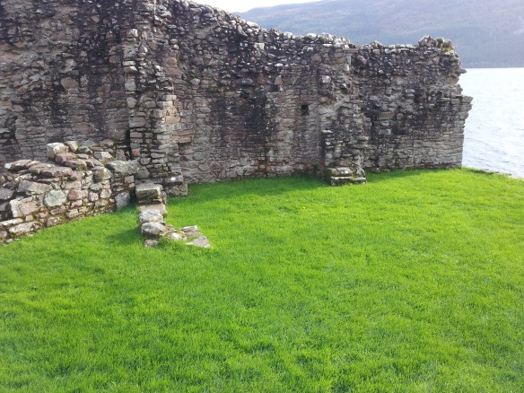 Urquhart Castle--this is where the stables would have been, close to the gatehouse.