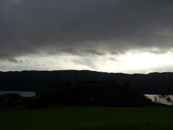 The citadel at Urquhart.  This is Scottish weather--sunny in some shots,  cloudy and dark and rainy in others.