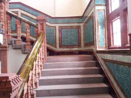 Victorian tiled staircase, Pierhead Building, Cardiff Bay
