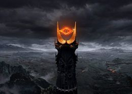 "Gee I wonder who else used an eye to represent the evil dude. *KOFFTOLKIENKOFF* And incidentally, Barad-dur means ""dark tower"" in Sindarin."