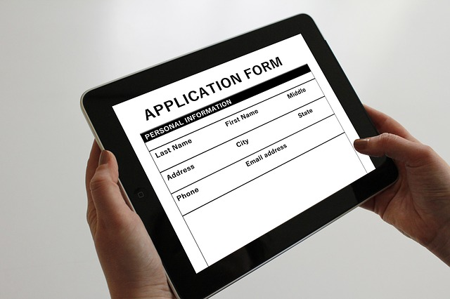 an iPad with a job application on it