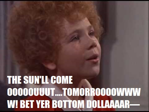 "Aileen Quinn as the title character in the musical Annie, singing ""The Sun'll Come Out Tomorrow"""